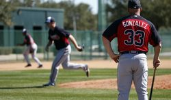 Atlanta Braves manager Fredi Gonzalez (33) watches his team during a spring training baseball workout, Tuesday, Feb. 18, 2014, in Kissimmee, Fla. (AP Photo/Alex Brandon)