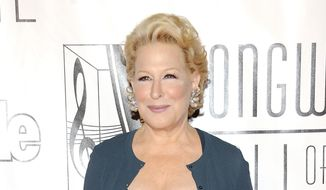 This June 14, 2012, file photo shows entertainer Bette Midler at the 2012 Songwriters Hall of Fame induction and awards gala in New York. (Photo by Evan Agostini/Invision/AP, file)