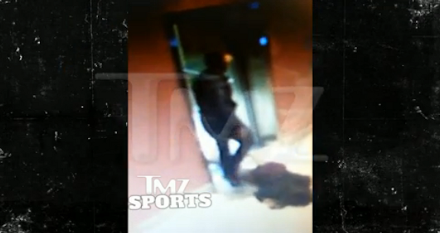 Video captured Saturday at an Atlantic City casino allegedly shows Baltimore Ravens running back Ray Rice dragging his unconscious fiancee out of an elevator just moments before the two were arrested. (TMZ Sports)
