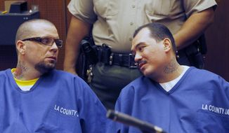Defendants Marvin Norwood, left, and Louie Sanchez appear during a hearing Thursday Feb. 20, 2014 in Los Angeles. The two men pleaded guilty Thursday to a 2011 beating at Dodger Stadium that left San Francisco Giants fan Bryan Stow brain damaged and disabled. They were immediately sentenced by an angry judge who called them cowards and the sort of people that sports fans fear when they go to games.(AP Photo/Nick Ut )