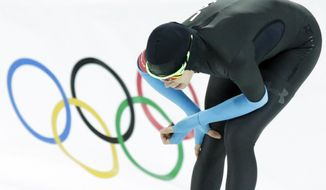 Maria Lamb of the U.S. competes in the women's 5,000-meter speedskating race at the Adler Arena Skating Center during the 2014 Winter Olympics in Sochi, Russia, Wednesday, Feb. 19, 2014. (AP Photo/Matt Dunham)