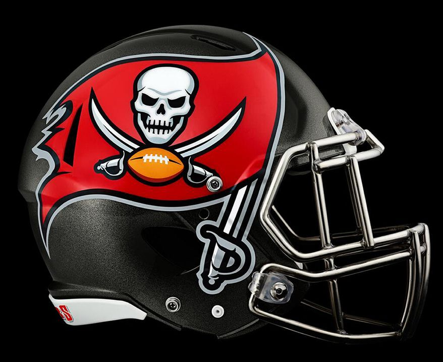 This image provided by the Tampa Bay Buccaneers shows the new team helmet logo which was unveiled Thursday, Feb. 20, 2014, in Tampa, Fla. (AP Photo/Tampa Bay Buccaneers)