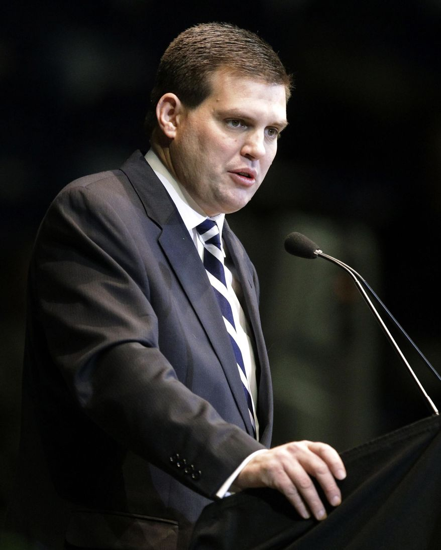 FILE - In this Jan. 26, 2012 file photo, Jay Paterno, son of former Penn State football coach Joe Paterno, speaks during a memorial service for Joe Paterno at Penn State's Bryce Jordan Center in State College, Pa. Paterno told party officials Thursday Feb. 20, 2014 that he will seek the Democratic nomination for lieutenant governor in Pennsylvania.  (AP Photo/Gene J. Puskar)