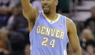 **FILE** Denver Nuggets' Andre Miller (24) points up court in the first half during an NBA basketball game against the Utah Jazz Monday, Nov. 11, 2013, in Salt Lake City.  (AP Photo/Rick Bowmer)