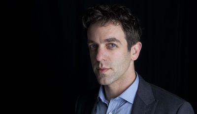 """This Feb. 7, 2014 photo shows actor and author B.J. Novak posing for a portrait to promote his new book, """"One More Thing: Stories and Other Stories,"""" in New York. (Photo by Amy Sussman/Invision/AP)"""