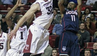Connecticut's Ryan Boatright (11) shoots as Temple's Dalton Pepper (32) defends in the first half of an NCAA college basketball game, Thursday, Feb. 20, 2014 in Philadelphia. (AP Photo/H. Rumph Jr.)