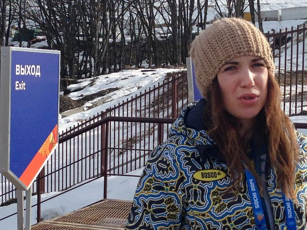 Ukrainian skier Bogdana Matsotska speaks during an interview with the Associated Press at the Sochi 2014 Winter Olympics, Thursday, Feb. 20, 2014, in Krasnaya Polyana, Russia. The International Olympic Committee said on Thursday, Feb. 20, that Matsotska is leaving the Olympics in response to the violence in her country. (AP Photo/Graham Dunbar)