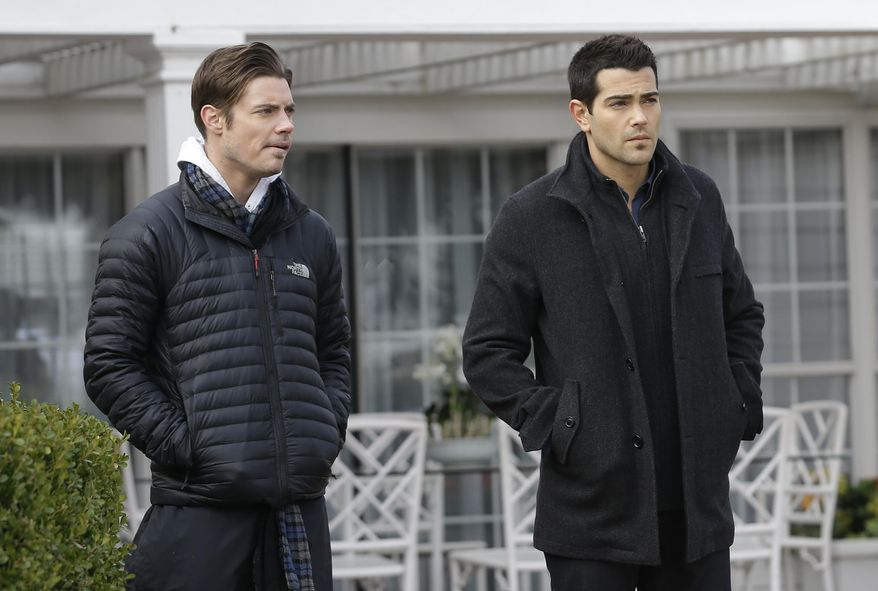 In this Wednesday, Feb. 5, 2014 photo, actors Josh Henderson, left, and Jesse Metcalfe rehearse a scene during production of the television series Dallas at Southfork Ranch in Parker, Texas. The third season of the reboot of the classic series, which premieres Monday, Feb. 24 on TNT, marks the first full season without Larry Hagman, who died of complications from cancer in November 2012 at age 81. (AP Photo/LM Otero)