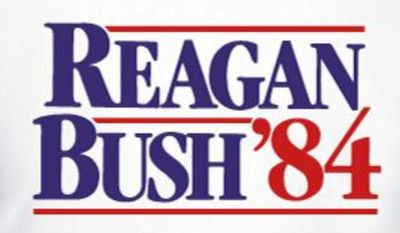 """The National Republican Congressional Committee is selling a """"vintage Reagan/Bush '84 campaign T-shirt"""" in honor of Ronald Reagan's 103rd birthday. (NRCC)"""