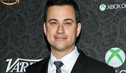 FILE - This Nov. 16, 2013 file photo shows Jimmy Kimmel at the 4th Annual Variety's Power of Comedy Event in Los Angeles. Kimmel said Thursday, Feb. 20, 2014, he cooperated with luger Kate Hansen to post a fake video of a wolf wandering the hall outside the athlete's room in Sochi. Instead, Kimmel's staff rented a wolf and built a set in Los Angeles that was a replica of the dorm and filmed the animal walking around  (Richard Shotwell/Invision/AP, File)