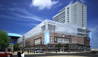 ADVANCE FOR WEEKEND EDITIONS, FEB. 22-23 - In this undated artist's rendering provided by HARBORCenter, the exterior of the HARBORCenter hockey complex in Buffalo, N.Y. is shown. The $172 million project, backed by Buffalo Sabres owner Terry Pegula, is designed to turn Buffalo into a hockey Mecca. (AP Photo/HARBORCenter)