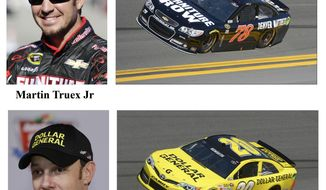 In these photos taken in February 2014, qualifying drivers and their cars in the starting field for Sunday's NASCAR Daytona 500 Sprint Cup Series auto race are shown at Daytona International Speedway in Daytona Beach, Fla. They are, from top, Austin Dillon, Martin Truex Jr, Matt Kenseth, and Denny Hamlin. (AP Photo)