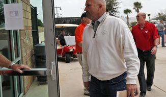 Atlanta Braves manager Fredi Gonzalez and others, arrive for a meeting about baseballs new instant replay rules at the spring training facility for the Houston Astros, Friday, Feb. 21, 2014, in Kissimmee, Fla. (AP Photo/Alex Brandon)
