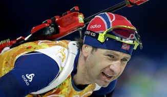 Norway's Ole Einar Bjoerndalen skis during the men's biathlon 4x7.5K relay at the 2014 Winter Olympics, Saturday, Feb. 22, 2014, in Krasnaya Polyana, Russia. (AP Photo/Lee Jin-man)