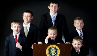 Bob and Becky Oberfoell of Dubuque, Iowa named their six boys after American presidents.  Meet Wilson (clockwise from left), 10, Carter, 12, Grant, 15, Pierce, 7, Lincoln, 5 and Truman, center, 3. (AP Photo/ Telegraph Herald, Dave Kettering)