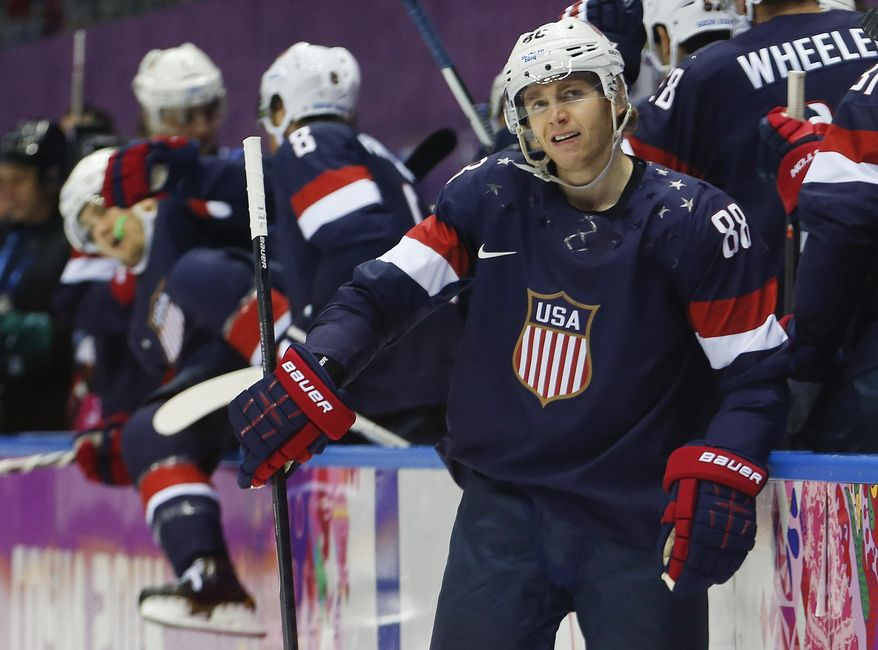USA forward Patrick Kane reacts after missing a penalty shot against Finland during the second period of the men's bronze medal ice hockey game at the 2014 Winter Olympics, Saturday, Feb. 22, 2014, in Sochi, Russia. (AP Photo/Petr David Josek)
