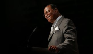 "The Honorable Minister Louis Farrakhan delivers the keynote address ""How Strong is Our Foundation: Can We Survive?"" at the Joe Louis Arena in Detroit, Mich., on Sunday, Feb. 23, 2014. (AP Photo/ Detroit Free Press, Romain Blanquart)"