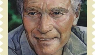 The Charlton Heston stamp, which was designed by art director Greg Breeding, features a portrait of the actor created by noted movie artist Drew Struzan. (USPS)