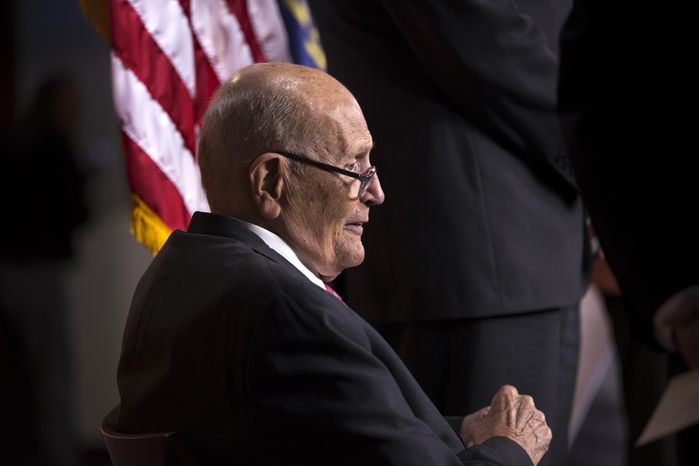 FILE - In this Oct. 4, 2013 file photo, Rep. John Dingell, D-Mich. is seen on Capitol Hill in Washington. According to AP source: Dingell, the longest-serving member of Congress, to retire.  (AP Photo/J. Scott Applewhite, File)