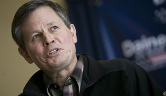 U.S. Rep. Steve Daines, R-Mont. speaks to the press after filing his candidacy for Montana's open U.S. Senate seat in Bozeman, Mont., on Monday, Feb. 24, 2014. (AP Photo/Bozeman Daily Chronicle, Adrian Sanchez-Gonzalez)