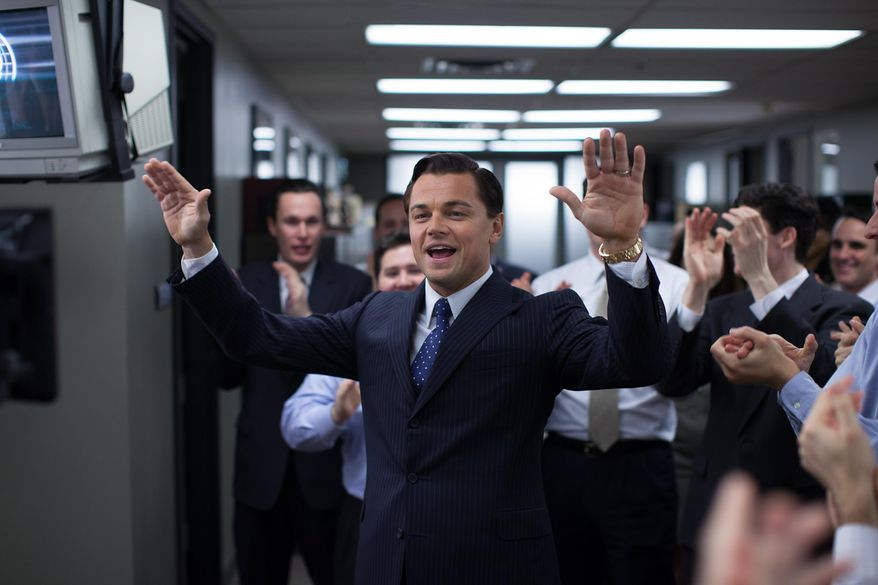 "This photo released by Paramount Pictures shows, Leonardo DiCaprio as Jordan Belfort in 'The Wolf of Wall Street,"" from Paramount Pictures and Red Granite Pictures. The film is nominated for five Oscars including best picture, but came very close to never getting made. The 86th Academy Awards will be presented on Sunday, March 2, 2014, in Los Angeles. (AP Photo/Paramount Pictures, Mary Cybulski)"