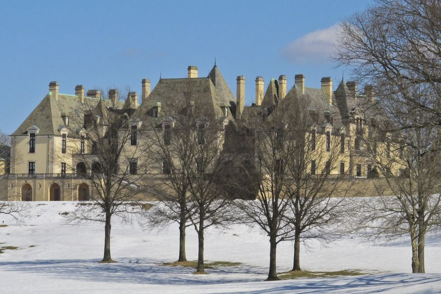 Snow covers the grounds of the Oheka Castle on Monday, Feb. 24, 2014, in Huntington, N.Y. The politically connected owner of a storied mansion-turned-wedding palace Gary Melius  was shot in the head by a masked assailant Monday afternoon while getting into his car in the parking lot of his Long Island venue, Suffolk County police said. (AP Photo/Frank Eltman)