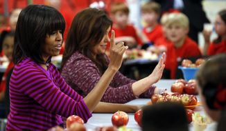 FILE - This Feb. 27, 2013 file photo shows first lady Michelle Obama and Food Network chef Rachel Ray discussing lunches with students from the Eastside and Northside Elementary Schools in Clinton, Miss. Moving beyond the lunch line, new rules expected to be proposed by the White House and the Agriculture Department Tuesday, Feb. 25, 2014, would limit marketing of unhealthy foods in schools, phasing out the advertising of sugary drinks and junk foods around school campuses and ensuring that other promotions in schools are in line with health standards that apply to school foods. (AP Photo/Rogelio V. Solis, File)