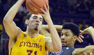 Iowa State's Georges Niang, (31) comes down with a rebound against TCU's Karviar Shepherd  during the second half of an NCAA college basketball game, Saturday, Feb. 22, 2014 in Fort Worth, Texas. (AP Photo/The Fort Worth Star-Telegram, Bob Haynes)  MAGS OUT; (FORT WORTH WEEKLY, 360 WEST); INTERNET OUT