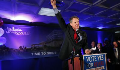 Mohegan Sun CEO Mitchell Grossinger Etess speaks to supporters at Suffolk Downs in Revere, Mass., Tuesday, Feb. 25, 2014, as they celebrate the passage of a referendum allowing the Mohegan Sun to move forward with its $1.3 billion proposal in Revere and compete with Wynn Resorts for the sole eastern Massachusetts resort casino. (AP Photo/Elise Amendola)