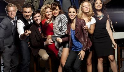 """This undated image released by ABC shows the cast of the new series """"Mixology,"""" top row from left, Andrew Santino and Craig Frank, bottom row from left, Adam Campbell, Adan Canto, Blake Lee, Alexis Carra, Frankie Shaw, Kate Simses, Vanessa Lengies and Ginger Gonzaga. The series, about six women and five men who meet in a NYC bar over the course of one night, premieres Wednesday, at 9:30 p.m. EST. (AP Photo/ABC, Joseph Viles)"""