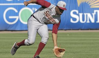 Florida State's Jameis Winston picks up a sixth inning single by New York Yankees' Pete O'Brien a spring training exhibition game against the New York Yankees Tuesday, Feb. 25, 2014, in Tampa, Fla. Winston is the 2013 Heisman Trophy winner. (AP Photo/Chris O'Meara)