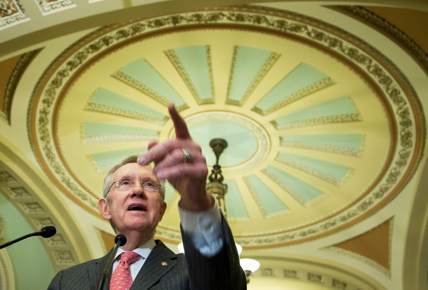 Senate Majority Leader Sen. Harry Reid, Nevada Democrat, said he wants to give President Obama a free hand to conduct diplomacy with Iran and doesn't want to see Congress vote on the issue. (Associated Press)