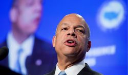 Homeland Security Secretary Jeh Johnson told Congress on Wednesday that he wants to keep the department's drones focused on border security. He did not rule out, though, the possibility of loaning to drones out to other governmental agencies. (Associated Press)
