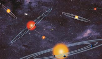 This handout artist conception provided by NASA depicts multiple-transiting planet systems. (AP)