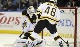 Boston Bruins goaltender Chad Johnson (30) looks back into the net after a goal by Buffalo Sabres' Zemgus Girgensons as Bruins center David Krejci (46) arrives too late during the first period of an NHL hockey game in Buffalo, N.Y., Wednesday, Feb. 26, 2014. (AP Photo/Gary Wiepert)