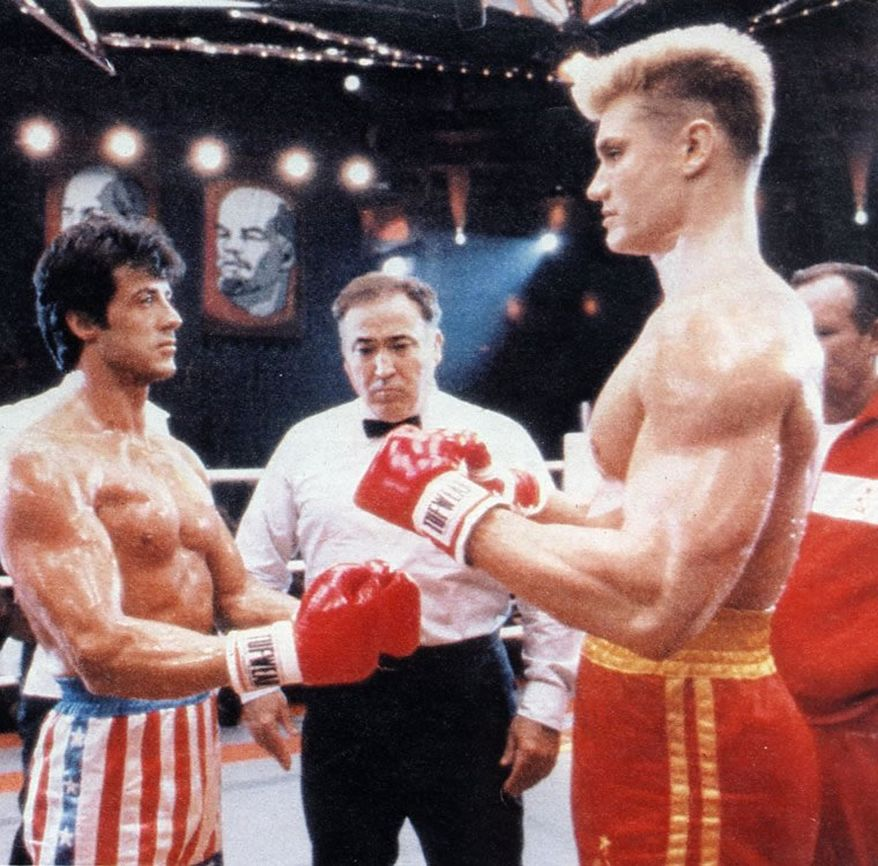Scene from Rocky IV starring Sylvester Stallone and Dolph Lundgren.