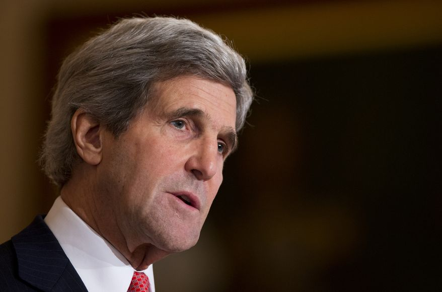 """FILE - In this Jan. 17, 2014 file photo, Secretary of State John Kerry speaks at the State Department in Washington. The US on Wednesday warned Russia against a military intervention in Ukraine, saying such a move would be a """"grave mistake,"""" as troops in western Russia were placed on high alert for massive new war games in the area, including near the Russian-Ukrainian border. In delivering the blunt message, John Kerry also announced the Obama administration was planning $1 billion in loan guarantees for Ukraine and would consider additional direct assistance for the former Soviet republic following unrest that led to the ouster of its Russian-backed president.  (AP Photo/Manuel Balce Ceneta, File)"""