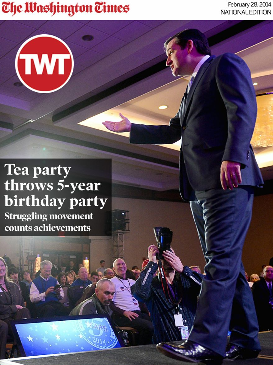 National Edition News cover for February 28, 2014 - Tea party throws 5-year birthday party:  Sen. Ted Cruz (R-Texas) speaks at the Tea Party Patriots 5th Anniversary Celebration at the Hyatt Regency Capitol Hill, Washington, D.C., Thursday, February 27, 2014. (Andrew Harnik/The Washington Times)