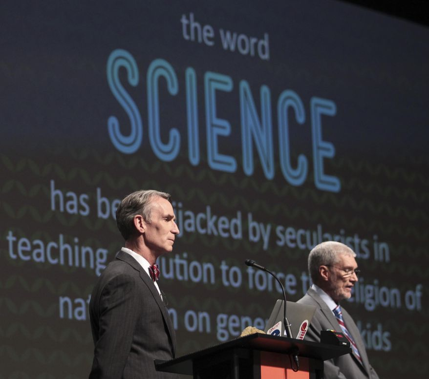 "FILE - In this Feb. 4, 2014 photo, Creation Museum head Ken Ham, right, speaks during a debate on evolution with TV's ""Science Guy"" Bill Nye, at the Creation Museum in Petersburg, Ky. Ham says fundraising after the widely watched event helped to revive stalled plans to build a 510-foot replica of Noah's Ark. (AP Photo/The Courier-Journal, Matt Stone, File) NO SALES; MAGS OUT; NO ARCHIVE; MANDATORY CREDIT"