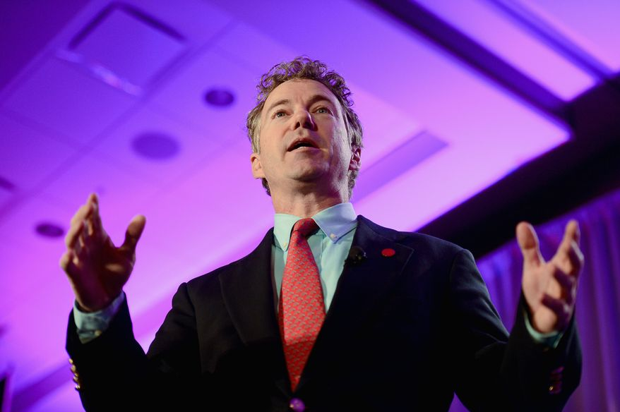 Sen. Rand Paul, Kentucky Republican, speaks at the Tea Party Patriots' fifth anniversary celebration Thursday at the Hyatt Regency Capitol Hill. (Andrew Harnik/The Washington Times)