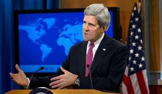 Associated Press   Secretary of State John Kerry speaks about the annual State Department Human Rights report, Thursday, Feb. 27, 2014, at the State Department in Washington. The U.S. says a chemical weapons attack in Syria that the Obama administration says killed more than 1,000 people was the world's worst human rights violation of 2013. An annual State Department report released Thursday also highlights government crackdowns on peaceful protests in Ukraine and Russia's refusal to punish human-rights abusers.