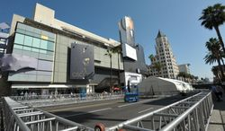 Preparations begin for the 86th Academy Awards, on Monday, Feb. 24, 2014, in Los Angeles. (Photo by John Shearer/Invision/AP)