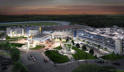 This artist's rendition released in Oct 2013 by Penn National Gaming shows the company's casino at its proposed location in Plainville, Mass. The Massachusetts Gaming Commission voted by a 3-2 margin to offer a license to the company for the state's first and only slots parlor with a maximum of 1,250 slot machines, but no table games. (AP Photo/Penn National Gaming)