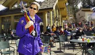 Secretary of State John Kerry, seen here in 2004, carries his skis to the slopes at Sun Valley in Ketchum, Idaho. (AP Photo/Elise Amendola)