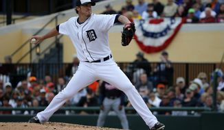 Detroit Tigers relief pitcher Joe Nathan throws during the fifth inning of an exhibition spring training baseball game against the Atlanta Braves in Lakeland, Fla., Thursday, Feb. 27, 2014. The Tigers won 5-2. (AP Photo/Gene J. Puskar)