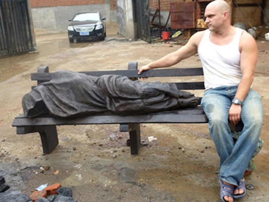 "The ""Homeless Jesus"" statue was created by sculptor Timothy P. Schmalz. (sculpturebytps.com)"
