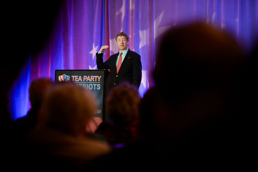 Sen. Rand Paul (R-Ky.) speaks at the Tea Party Patriots 5th Anniversary Celebration at the Hyatt Regency Capitol Hill, Washington, D.C., Thursday, February 27, 2014. (Andrew Harnik/The Washington Times)
