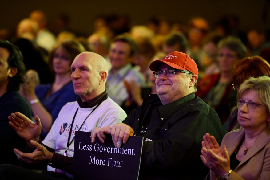 Members of the audience listen as Rep. Louie Gohmert (R-Texas) speaks at the Tea Party Patriots 5th Anniversary Celebration at the Hyatt Regency Capitol Hill, Washington, D.C., Thursday, February 27, 2014. (Andrew Harnik/The Washington Times)