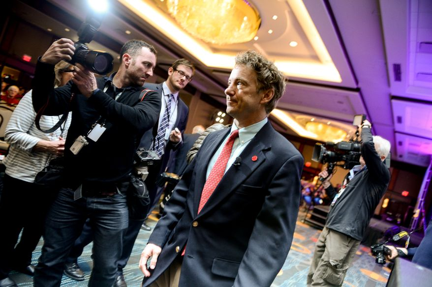 Sen. Rand Paul (R-Ky.) leaves after speaking at the Tea Party Patriots 5th Anniversary Celebration at the Hyatt Regency Capitol Hill, Washington, D.C., Thursday, February 27, 2014. (Andrew Harnik/The Washington Times)