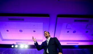 Sen. Ted Cruz (R-Texas) speaks at the Tea Party Patriots 5th Anniversary Celebration at the Hyatt Regency Capitol Hill, Washington, D.C., Thursday, February 27, 2014. (Andrew Harnik/The Washington Times)